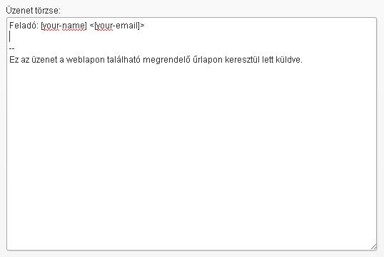 Contact Form 7 megrendelőlap